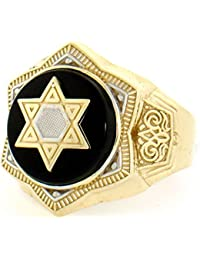 10k Solid Yellow Gold Onyx Star of David Mens Ring