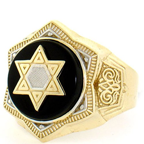 10k Solid Yellow Gold Onyx Star of David Mens Ring