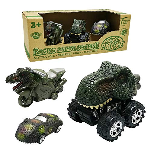 GreenKidz Dinosaur Car Toys 3-Pack T-Rex Mini Dino Rev-Up Motorcycle Pull Back Monster Truck and Roadster Toy Cars Vehicle Gift for 3 Years Old Kids Boys and Girls