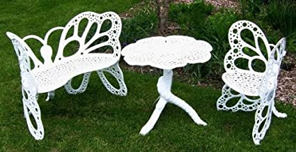 Superb Flower House Fhbfset3W Butterfly Garden Set White Caraccident5 Cool Chair Designs And Ideas Caraccident5Info