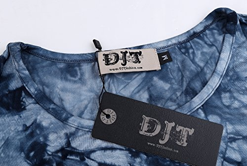 DJT Mujeres Asimetrica Camisa Blusa de Manga Larga Estilo Elastico Tunic Shirt Tee Azul-Estilo 2