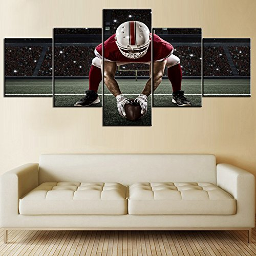 (Black White and Red Canvas Wall Art 5 Piece Pictures NFL Sports Painting American Football Player with Red Uniform Framed Artwork Home Decor for Living Room Gallery-Wrapped Ready to Hang(50''Wx24''H))