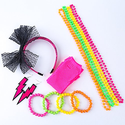 Coobey 80s Neon Bracelet Necklace Bow Headband Fishnet Gloves Lighting Earring by Coobey (Image #6)