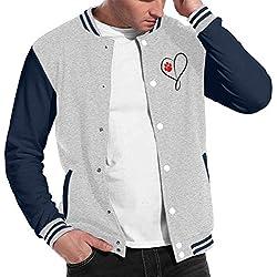 Cat Dog Paw Prints Heart Men's Fashion Baseball Uniform Jacket Sport Coat Gray