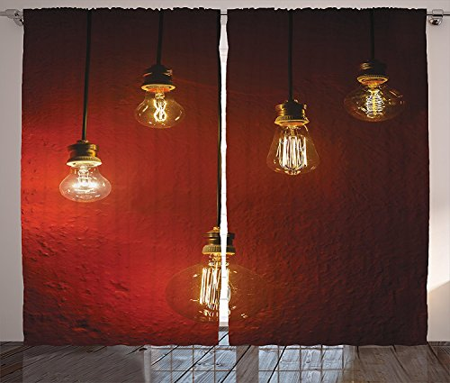 Industrial Decor Collection Old Incandescent Lamps Lighting Together on a Wall Electrical Bulb Energy Lamp Picture Living Room Bedroom Curtain 2 Panels Set (Electric Guitar Wood Tone)