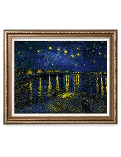 DECORARTS - Starry Night Over The Rhone, Vincent Van Gogh Art Reproduction. Giclee Print& Framed Art for Wall Decor. 30x24, Framed Size: 35x29