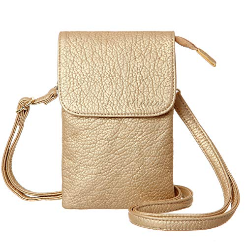 Neck Phone (MINICAT Roomy Pockets Series Small Crossbody Bags Cell Phone Purse Wallet For Women(Gold))
