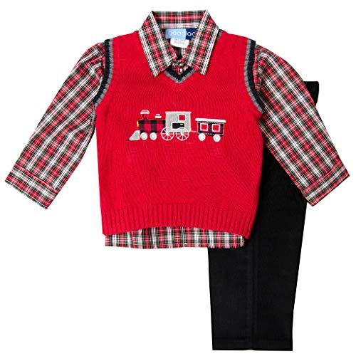 Newborn Train Set - Good Lad Newborn/Infant Boy Holiday Train Appliqued Sweater Vest Set (3/6M)