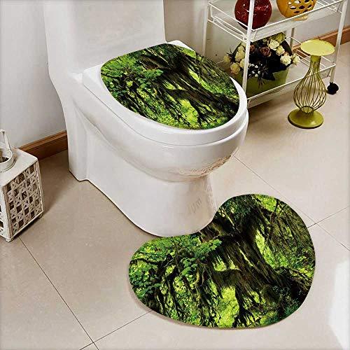 Heart Shaped Foot pad 2 Pieces HOH Rainforest Olympic National Park Dans l'État de WashingtonBathroom Toilet Mats W16 x H20 / W14 x H16 ()
