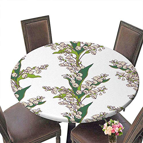 PINAFORE Chateau Easy-Care Cloth Tablecloth Seamless Bouquets of Flowers Lily Valley on White for Home, Party, Wedding 43.5