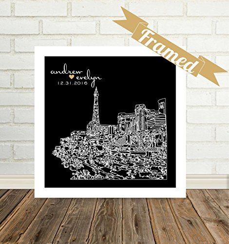 Las Vegas Skyline Personalized Wedding Gift Framed Art Las Vegas Art Las Vegas Print Las Vegas Wedding Gift Unique Wedding Gift for Couple Any City Available WORLDWIDE!