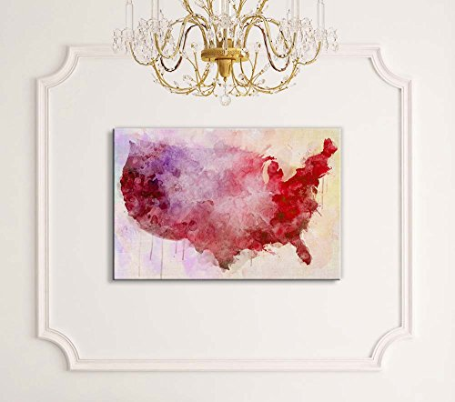 Red Watercolor Map of The United States of America
