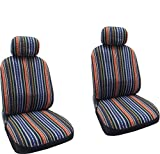 Baja Blue - Striped Saddle Blanket Front Seat Cover Pair For Toyota Camry