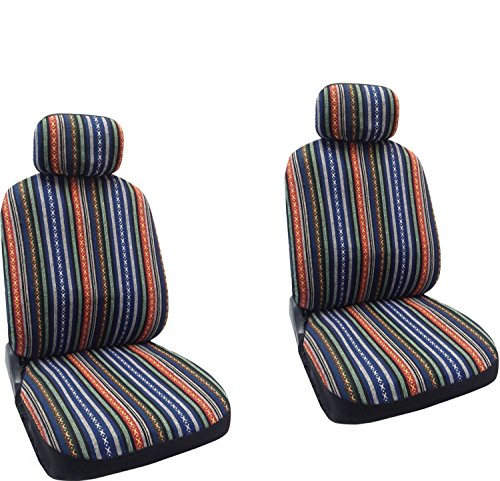 Unique Imports Baja Blue - Striped Saddle Blanket Front Seat Cover Pair