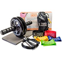 Ab Workout Equipment Ab Roller Wheel Adjustable Jump Rope & 5x Exercise Resistance Loop Bands - All-In-One Cerasus Fitness Set Ab Fitness Equipment Ab Wheel Roller