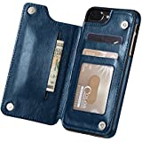 Marval.P Slim Premium Leather iPhone Wallet Case Card Slots Shockproof Folio Flip Protective Defender Shell Magnetic Clasp Kickstand Holder for Multi iPhone Case Cover Pouch (iPhone 6/6s Plus Navy)