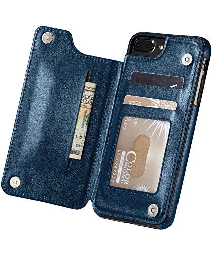 Marval.P Slim Premium Leather iPhone Wallet Case Card Slots Shockproof Folio Flip Protective Defender Shell Magnetic Clasp Kickstand Holder for Multi iPhone Case Cover Pouch (iPhone 6/6s Navy)