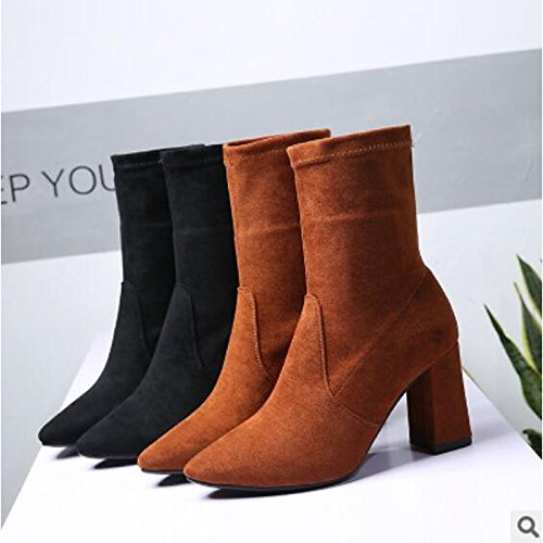 Heel Winter Fall PU for Brown Boots Chunky Boots Black Comfort Brown Toe Round Shoes Ankle HSXZ Booties Casual ZHZNVX Women's n4pxzII