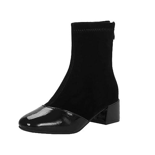Y2Y Studio Femmes Courtes Vernis Nubuck Bottines Bout Carré Talon Moyenne  4.5cm Chunky Heels Ankle cccb876c4b00