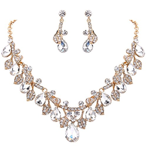 BriLove Women's Wedding Bridal Crystal Teardrop Cluster Leaf Vine Statement Necklace Dangle Earrings Set Clear Gold-Tone Vintage Gold Tone Choker