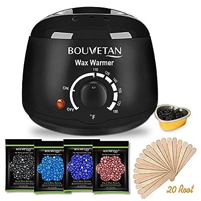 Wax Warmer - Bouvetan Waxing Hair Removal Kit with 4 Hard Wax Beans and 20 Wax Applicator Sticks (At-home Waxing)