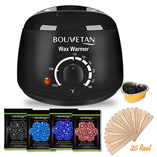 Home Wax - Wax Warmer - Bouvetan Waxing Hair Removal Kit with 4 Hard Wax Beans and 20 Wax Applicator Sticks (At-home Waxing)