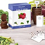 Nature's Blossom Super Foods Seed Starter Kit. Complete Set to Grow 4 Extra Healthy Vegetables from Seeds, Including Growing Pots, Peat Soil, Plant Labels & Instructions. Made in the USA