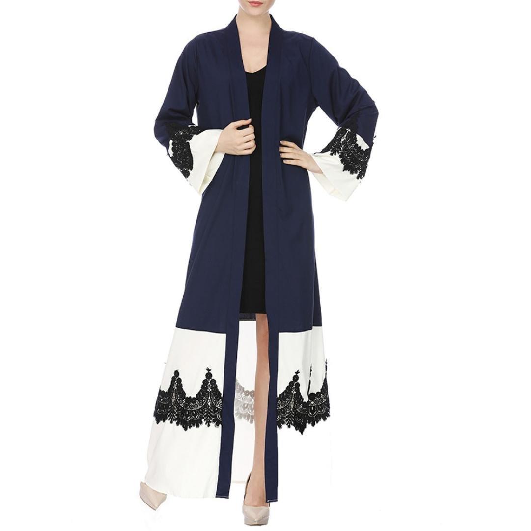 OVERMAL DRESS 2019 Dresses Abaya Clothing Women Kimono Front Open Lace  Jilbab Muslim Islamic Kaftan Maxi Loose Robe White at Amazon Women s  Clothing store  ef21721057c8