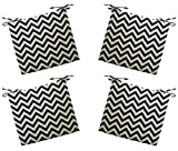 """Set of 4 – Indoor / Outdoor Black and Ivory Chevron Universal 3"""" Thick Foam Seat Cushions with Ties for Dining Patio Chairs – Choose Size (22″ x 22″)"""