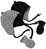 N'Ice Caps Little Kids Infants Reversible Hat Mittens Fleece Skater Set (6-18 Months, Black Solid/Black-White Sherpa Infant)