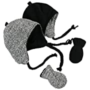 N'Ice Caps Little Kids and Infants Reversible Hat and Mittens Fleece Skater Set (3-6 Months, Black Solid/Black-White Sherpa Infant)