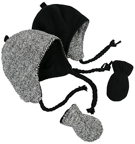 Price comparison product image N'Ice Caps Little Kids and Infants Reversible Hat and Mittens Fleece Skater Set (6-18 Months, Black Solid/Black-White Sherpa Infant)