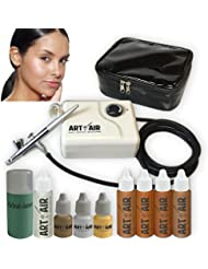 Art of Air TAN Complexion Professional Airbrush Cosmetic Makeup System / 4pc Foundation Set with Blush, Bronzer, Shimmer and Primer Makeup Airbrush Kit