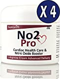 No2 Pro [4 pack ]- Helps Support Blood Pressure - L-Arginine skin cream FAST absorption. Has No Bad Taste, No Upset Stomach, No Large Pills, or Stained teeth - Botanifi!