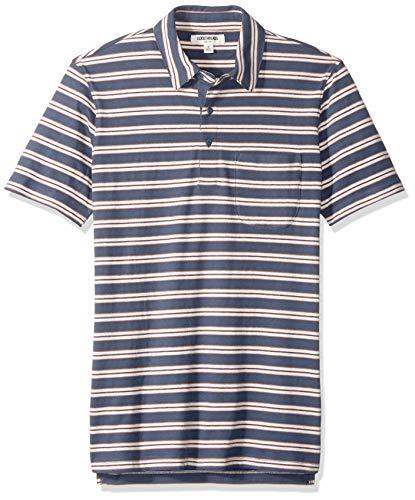 Goodthreads Men's Short-Sleeve Sueded Jersey Polo, Denim Retro Stripe, X-Large ()