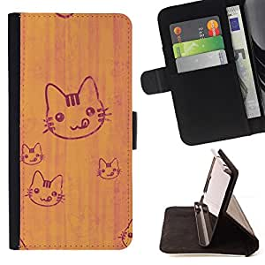 BullDog Case - FOR/Sony Xperia M2 / - / cat cute tongue licking simple drawing art /- Monedero de cuero de la PU Llevar cubierta de la caja con el ID Credit Card Slots Flip funda de cuer