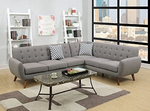 Poundex Bobkona Galiana Linen-Like Polyfabric SECTIONAL