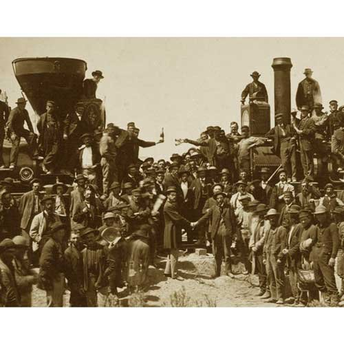 (DS Decor Photos Quality Digital Print of a Vintage Photograph -East Meets West - The 'Golden Spike' Ceremony, Promentory Summit, Utah May 10, 1869. Sepia Tone 5x7 inches - Matte Finish)
