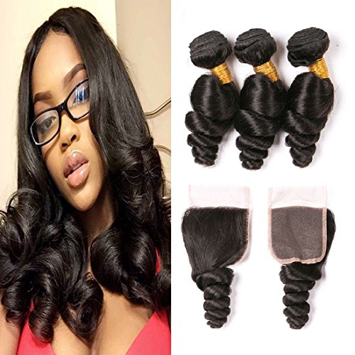 3pcs Wet And Wavy Bundles With Closure Long Remy Virgin Human Hair Weaves 4x4 Free Part Brazilian Lace Closure 7a Loose Wave Hair Extensions 22 24 26 + 20 Inches - Delivery Free Very.co.uk