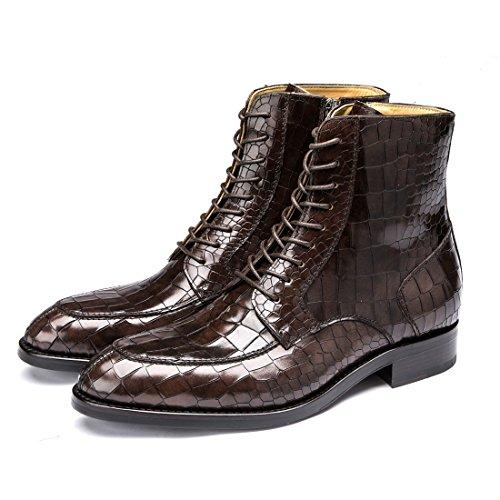 Heren Premium Koeienhuid Lederen Enkellaarsjes Formel Lace Up Krokodil Graan Slofjes 1762 Zwart