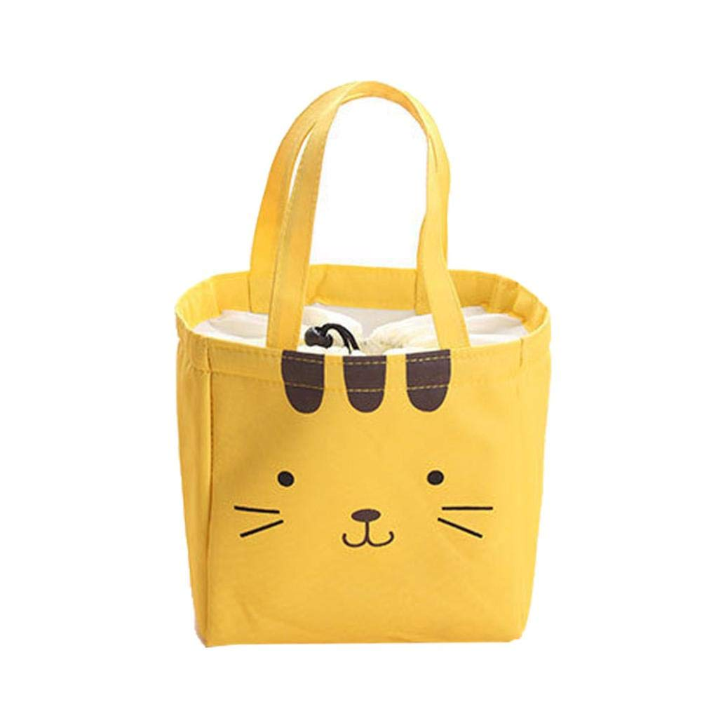 Sandistore Lunch Box Cute Animal Thermal Insulated Tote Cooler Bag Bento Pouch Container - Roomy Thermal Lunch Bag for Kids and Adults (Yellow)