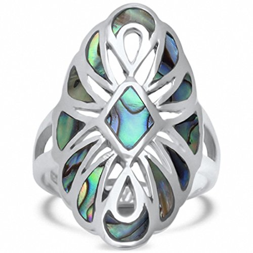 Filigree Design Ring Ring (Filigree Design Ring Simulated Abalone 925 Sterling Silver, Size-10)
