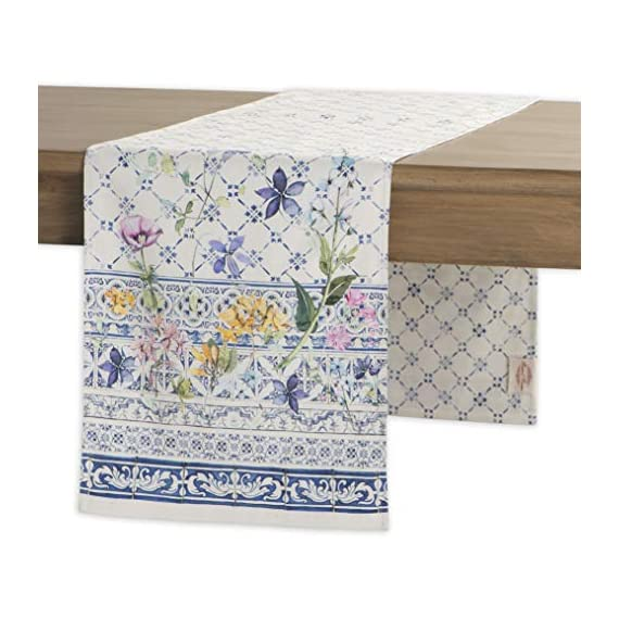 Maison d' Hermine Faïence 100% Cotton Table Runner for Party | Dinner | Holidays | Kitchen | Spring/Summer (14.5 Inch by 72 Inch) - Designed in France. 100% Cotton and machine washable. Suitable for all occasions Package Includes : 1 Table Runner - table-runners, kitchen-dining-room-table-linens, kitchen-dining-room - 51mKEpB3WhL. SS570  -