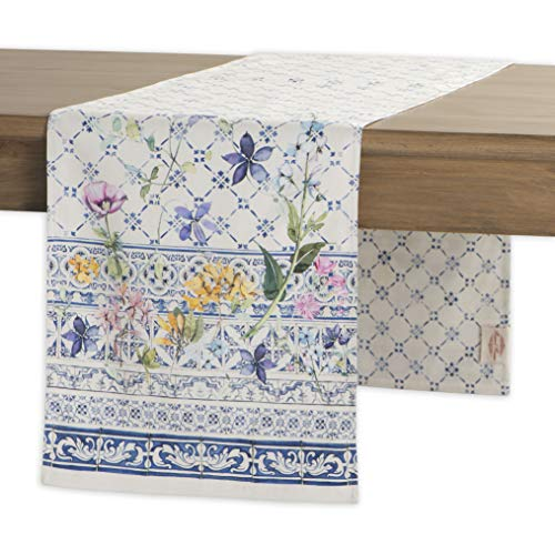 - Maison d' Hermine Faïence 100% Cotton Table Runner 14.5- Inch by 72 - Inch