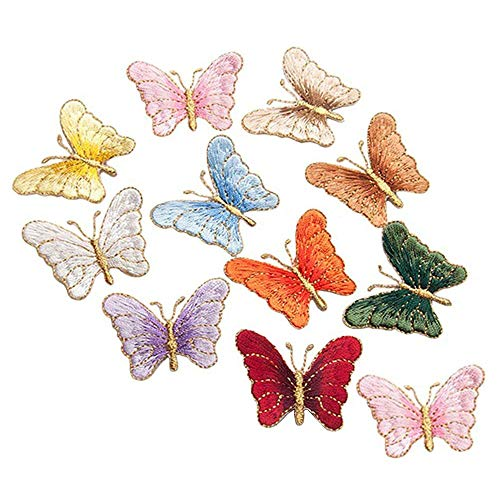 ZOOPOLR 24 Pack Iron on Patches, Sew On Applique Patches, Colorful Butterfly Embroidery Applique Patch For Clothes Backpacks T-shirt Jeans Skirt Vests Scar ()