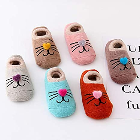 Z-Chen 6 Pack Baby Kids No Show Cotton Socks Ankle Socks Anti Slip Set B 2-4 Years