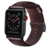 Transhare High-grade Soft Full-grain Leather with Metal Buckle and Clasp Adapters iWatch Replacement Band for Apple Watch Series 3, 2, 1, Sport, Edtion (Red Brown, 42mm)