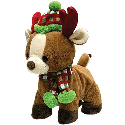 Sound & Light/Cuddle Barn Rock & Roll Christmas Reindeer Plush w/ Festival Hat & Scarf - Sleigh Ride
