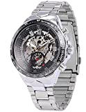 Men's Black Skeleton Dial Design Case For Silvery Stainless Steel Automatic Luxury Mechanical WristWatch