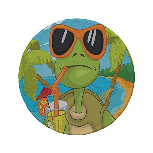 Non-Slip Rubber Round Mouse Pad,Turtle,Cool Sea Turtle with Sunglasses Drinking Cocktail at The Beach Cartoon,Green Orange Light Blue,11.8